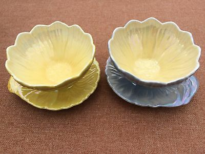 Pair Of Early Ceramic Royal Winton Lustre Ware Lotus Bowls With Attached Saucer