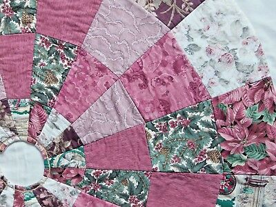 """* Handmade Quilted Pinks Greens Whites Patchwork Christmas Tree Skirt  42"""""""