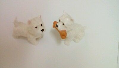 2 handcrafted porcelain scotty dogs