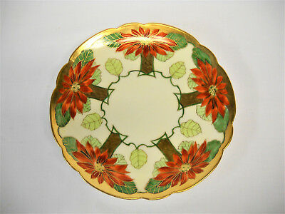 Antique PICKARD-LIMOGES HAND PAINTED PLATE-CHRISTMAS/POINSETTIA THEME-VG-NR