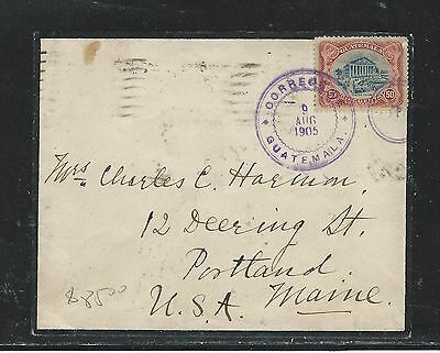 Guatemala (P2908B) 1905 7  Mourning Cover To Usa
