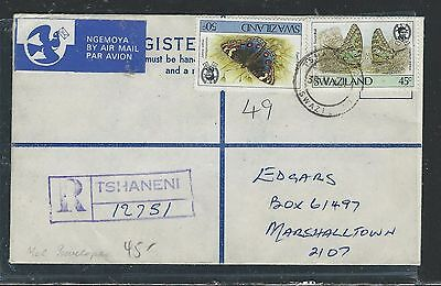Swaziland (P1105B) Formula Rle Uprated Butterfly Stamps Tshaneni To Marshalltown