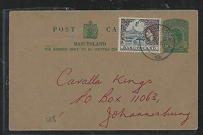 Basutoland  (P0408B) Qeii Psc 1 1/2D Uprated 1//2D To Jo'burg With Msg