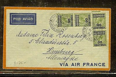 Morocco Agencies (P1206B) 1938 Kgv 90Cx4 On A/m Cover To Germany
