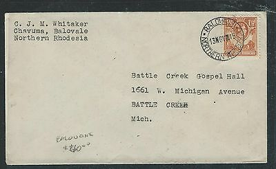 Northern Rhodesia (1012B) Kgvi 1 1/2D From Balovale To Usa