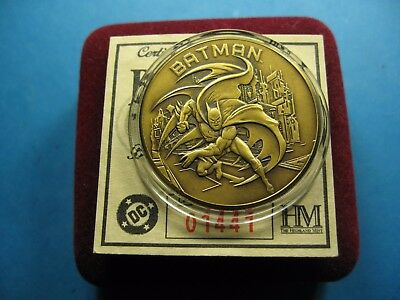 Batman The Dark Knight 1999 Dc Comics Very Rare Issue Bronze Coin Case & Coa