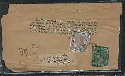 Leeward Islands (P2712B) Qv 1/2D Ps Wrapper Uprated 1/2D From Antigua To England