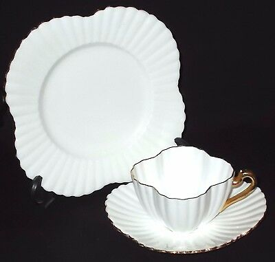 Foley Wileman (pre Shelley) WHITE AND GOLD Cup, Saucer & Plate - Alexandra Shape