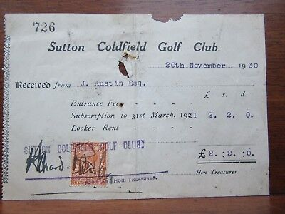 Golf Memorabilia Sutton Coldfield Golf Club Subscription Receipt 20/11/30 £2 2/-