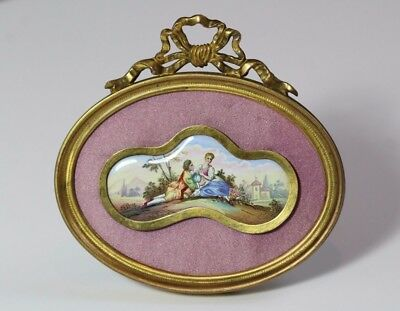 Antique 19thC Viennese Enamel Romantic Couple Courting Scene Plaque Gilt Frame