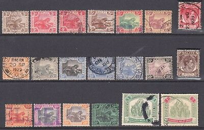 MALAYA TIGERS & ELEPHANTS SOUND $150+ COLLECTION LOT 20 STAMPS 99c NO RESERVE