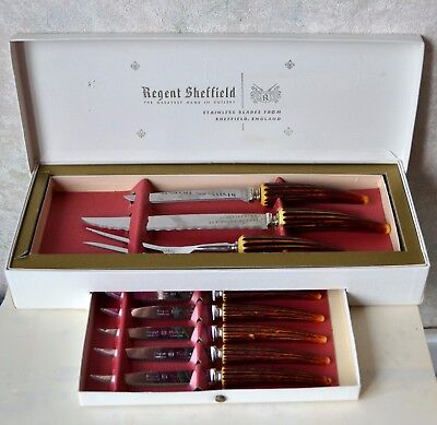 9pc. VTG SHEFFIELD ENGLAND CARVING SET BAKELITE FAUX HORN HANDLE, Steak Knives