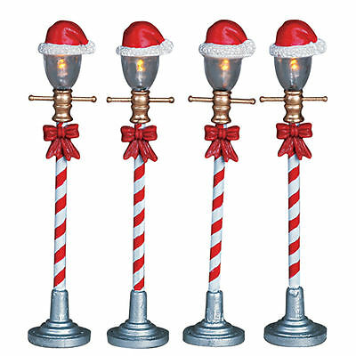 Lemax Decoration, Santa Hat Street Lamp, Christmas Decorating, Lighted Set of 4