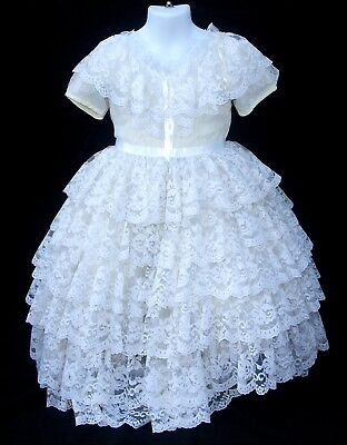 Vintage White Ruffle Lace Full Circle Full Length Girl's Party Dress size 4
