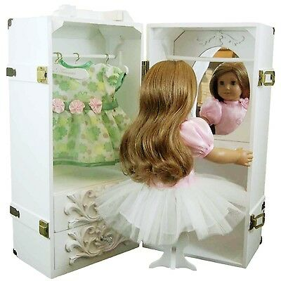 """Trunk Case & Vanity Stool For 18 """" Inch American Girl Doll WHITE FACTORY SECOND"""