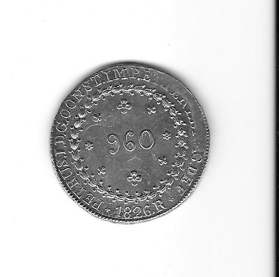 Brazil: 960 reis 1826R silver crown size UNC   (see scans)