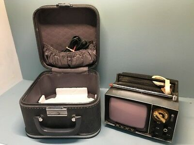 Vintage Sony Micro TV 5-303W Mini Television Set With Cord & Case