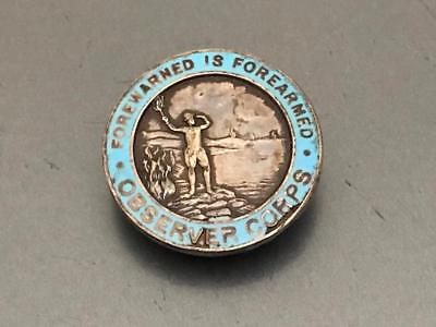 WW2 Royal Observer Corps ROC Lapel Badge Forewarned is Forearmed