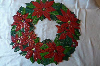 Metal Poinsettia Christmas Door Wreath India Red Holiday Wall Decor