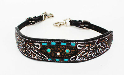 Western Leather Wither Strap Breast Collar Tooled Show Tack Turquoise 105M80221