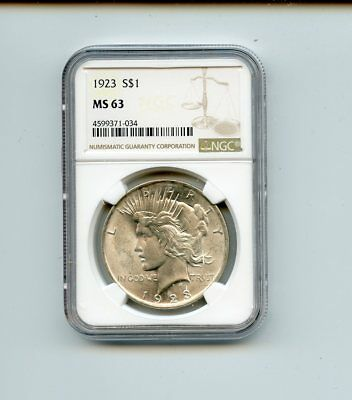 1923 Silver Peace Dollar (MS 63) NGC