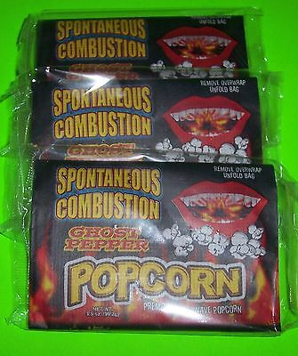 SPONTANEOUS COMBUSTION MICROWAVE POPCORN WITH GHOST PEPPER, 3 x 3.5 OZ BAGS