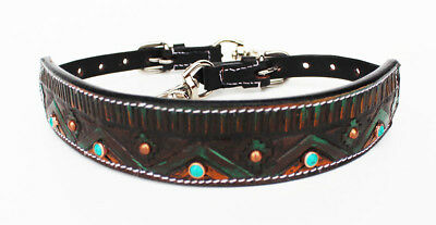 Western Leather Wither Strap Breast Collar Hand Tooled Tack Turquoise 105M80225