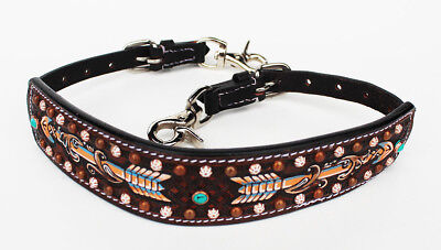 Western Leather Wither Strap Breast Collar Hand Tooled Show Tack Brown 105M80226