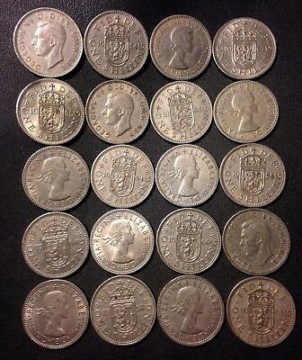 Vintage Great Britain Coin Lot - 20 SHILLINGS - Excellent Group - Lot #114