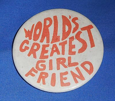 Tin Badge Pin 5.5 cm Button - World's Greatest Girl Friend Retro