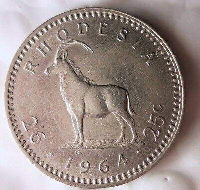 1964 RHODESIA 1/2 CROWN - AU - Great Exotic African Coin - Lot #114