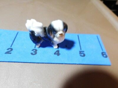 Miniature Bone China Dog Figurines Vintage 1950's Shiken Japan Shih Tzu Estate