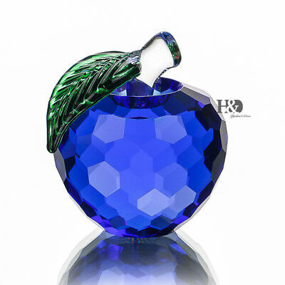 Blue 3D Crystal Paperweight Glaze Apple Figurine Glass Wedding Decor Gifts 40mm