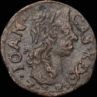 POLAND. Jan of Casimir copper Solidus, Regal Eagle type, 1661, Hammered coin