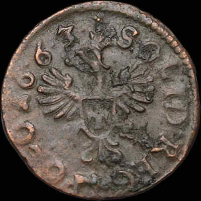 POLAND. Jan of Casimir copper Solidus, Regal Eagle type, 1663, Hammered coin