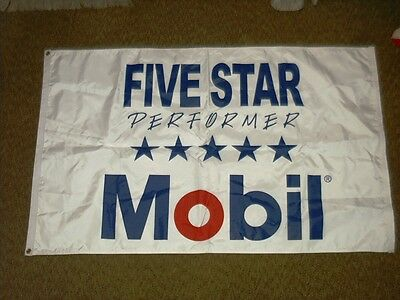 Mobil 5 Star Performer,NEW, tri-color factory 3' x 5' double sided wall banner