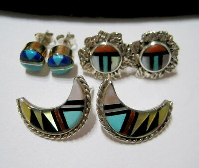 THREE PAIRS of VINTAGE SW Native ZUNICRAFT Mixed INLAID GEMSTONE Silver EARRINGS