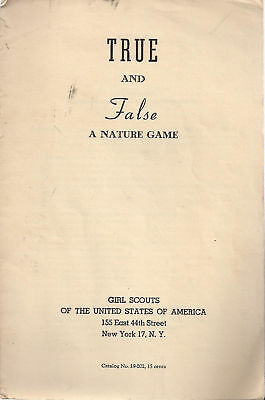 1943 Girl Scouts TRUE & FALSE: A NATURE GAME (12 pages)