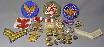 Junk Drawer Lot Misc Military Non-Military Patches Insignia Buttons Medals Pins