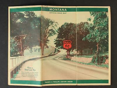 1939 MONTANA ROAD MAP produced by PHILLIPS 66 GASOLINE