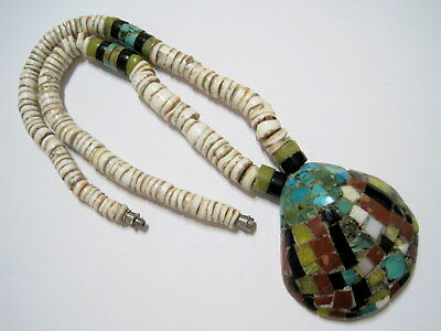 SANTO DOMINGO PUEBLO Vintage SW NATIVE Mixed Gemstone Inlaid Shell BEAD NECKLACE