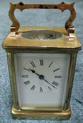 Antique FRENCH Brass Mantle Carriage CLOCK with Beveled Glass + Key WORKING