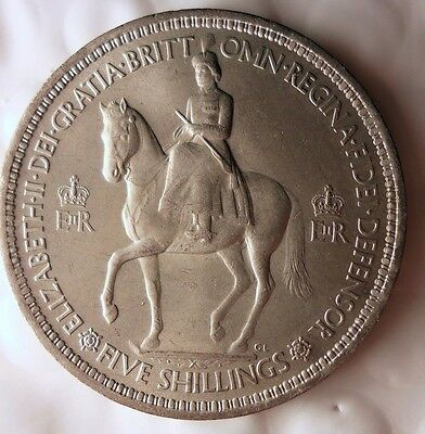 1953 GREAT BRITAIN CROWN - AU - Rare Type - Great Coin - Lot #115