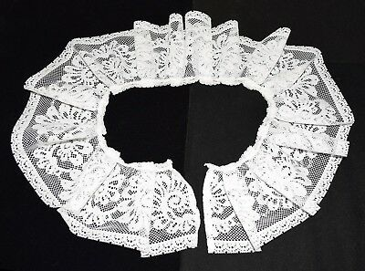 "Vintage Style White Floral Lace 4"" Gathered Collar"