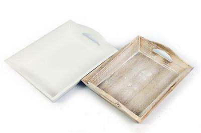 Shabby Chic Vintage Wooden Rustic Small Tray Serving Plant Candle White Natural