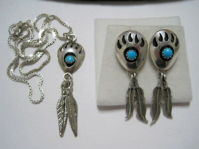 OLD PAWN Vtg SW NATIVE Turquoise Bear's Claw STERLING NECKLACE & EARRING SET