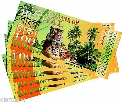 LOT 5 :Commercial BANK of BENGAL 100 RUPEES 2014 POLYMER TIGER ELEPHANT NEW UNC