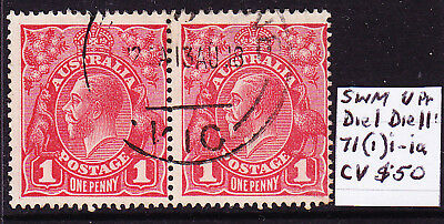 AUSTRALIA KGV 1d DULL RED DIE I-II PAIR ACSC CV $50 SLIGHTLY OFF-CENTRE USED