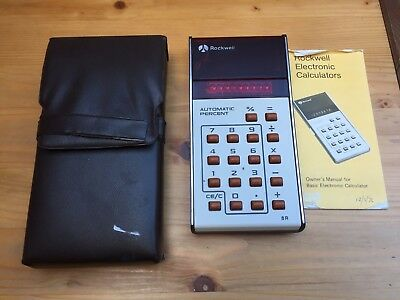 Vintage 1976 Rockwell LED Calculator Model 8R With Case & Instruction Manual