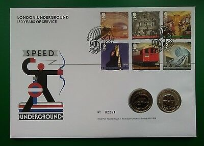 2013 LONDON UNDERGROUND 2 x £2 Coin Cover (Royal Mail)